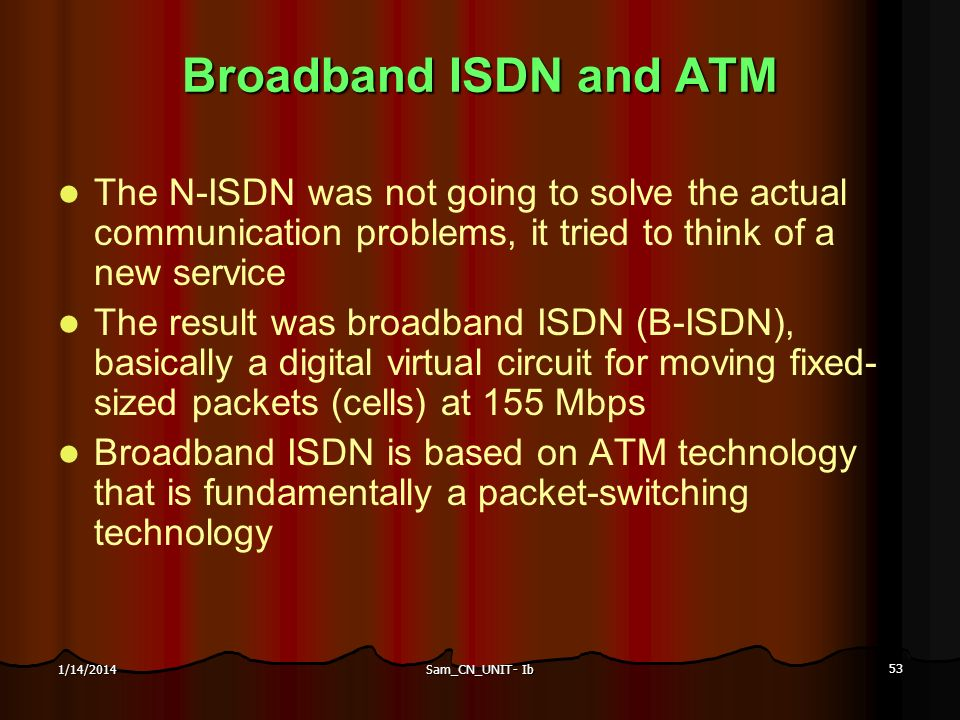 Sam_CN_UNIT- Ib 53 1/14/2014 Broadband ISDN and ATM The N-ISDN was not going to solve the actual communication problems, it tried to think of a new se