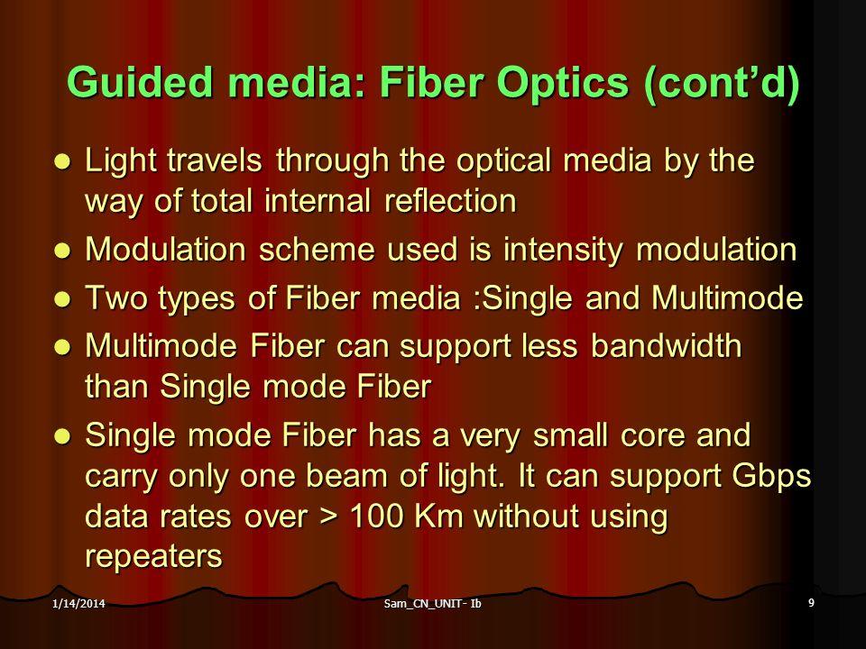 Sam_CN_UNIT- Ib 9 1/14/2014 Guided media: Fiber Optics (contd) Light travels through the optical media by the way of total internal reflection Light t