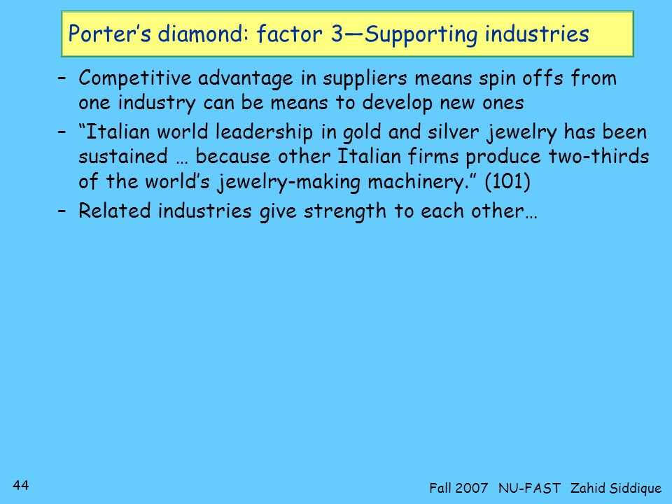 43 Fall 2007 NU-FAST Zahid Siddique Porters diamond: factor 3Supporting industries A more disaggregated view…