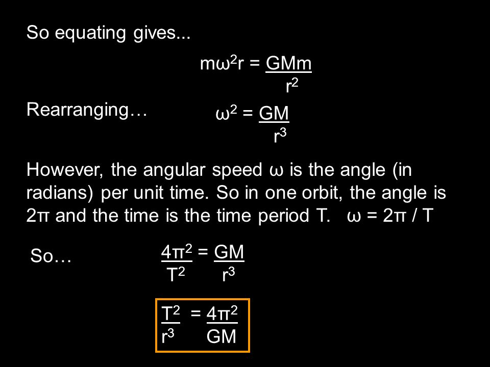 So equating gives... However, the angular speed ω is the angle (in radians) per unit time. So in one orbit, the angle is 2π and the time is the time p