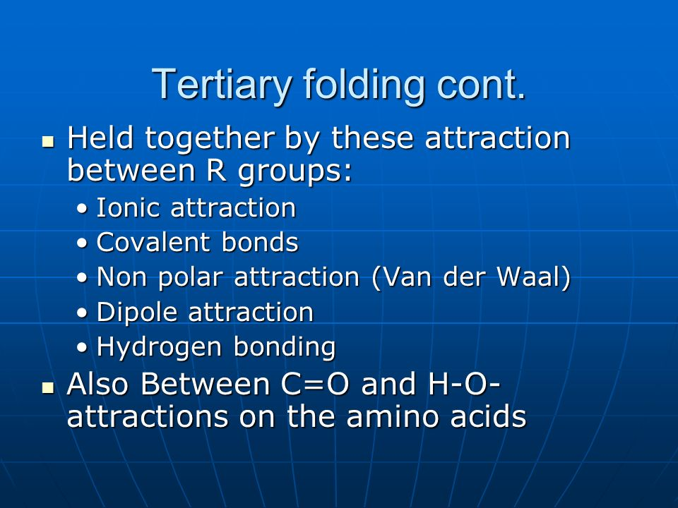 Tertiary folding cont. Held together by these attraction between R groups: Held together by these attraction between R groups: Ionic attractionIonic a
