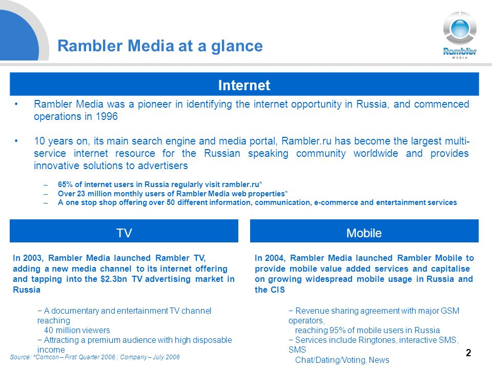 2 Rambler Media at a glance Rambler Media was a pioneer in identifying the internet opportunity in Russia, and commenced operations in years on, its main search engine and media portal, Rambler.ru has become the largest multi- service internet resource for the Russian speaking community worldwide and provides innovative solutions to advertisers –65% of internet users in Russia regularly visit rambler.ru* –Over 23 million monthly users of Rambler Media web properties* –A one stop shop offering over 50 different information, communication, e-commerce and entertainment services Source: *Comcon – First Quarter 2006 ; Company – July In 2004, Rambler Media launched Rambler Mobile to provide mobile value added services and capitalise on growing widespread mobile usage in Russia and the CIS Revenue sharing agreement with major GSM operators, reaching 95% of mobile users in Russia Services include Ringtones, interactive SMS, SMS Chat/Dating/Voting, News Internet TVMobile In 2003, Rambler Media launched Rambler TV, adding a new media channel to its internet offering and tapping into the $2.3bn TV advertising market in Russia A documentary and entertainment TV channel reaching 40 million viewers Attracting a premium audience with high disposable income