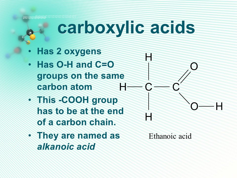 carboxylic acids Has 2 oxygens Has O-H and C=O groups on the same carbon atom This -COOH group has to be at the end of a carbon chain. They are named