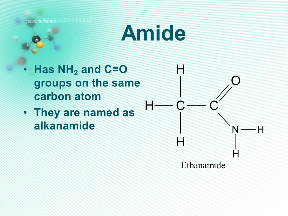 Amide Has NH 2 and C=O groups on the same carbon atom They are named as alkanamide CC H H O H Ethanamide HN H
