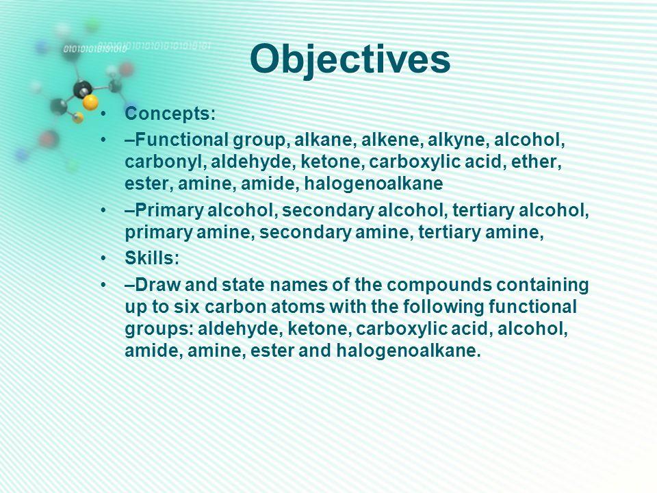 Objectives Concepts: –Functional group, alkane, alkene, alkyne, alcohol, carbonyl, aldehyde, ketone, carboxylic acid, ether, ester, amine, amide, halo