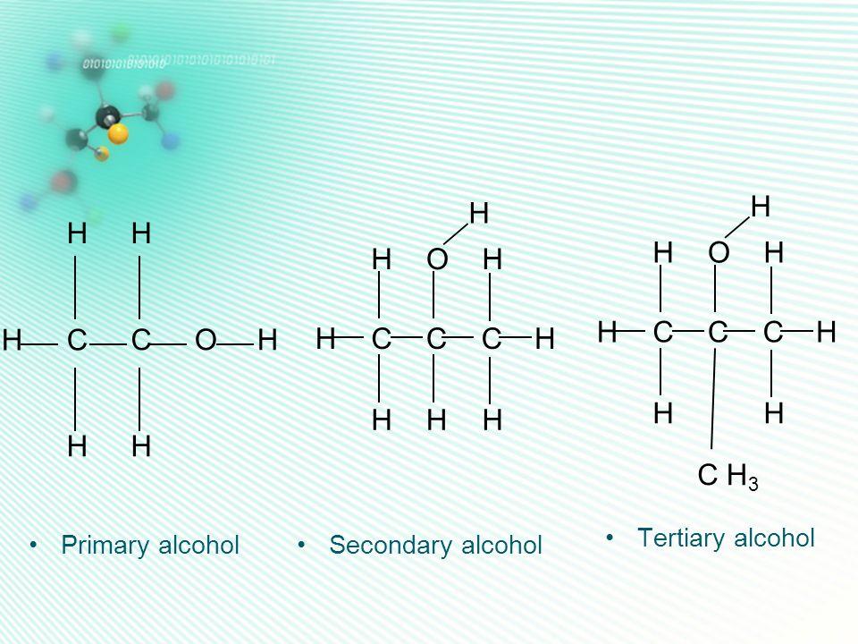 Primary alcohol C C HH H HH HO CC HO H HH HC H H H CC HO H H3H3 H HC H H H C Secondary alcohol Tertiary alcohol