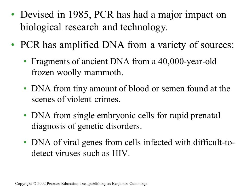 Devised in 1985, PCR has had a major impact on biological research and technology. PCR has amplified DNA from a variety of sources: Fragments of ancie