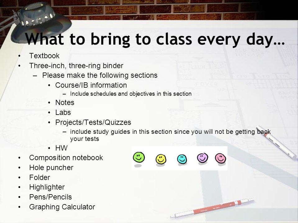 What to bring to class every day… Textbook Three-inch, three-ring binder –Please make the following sections Course/IB information –Include schedules