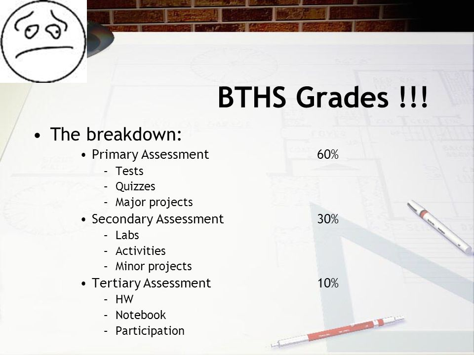 BTHS Grades !!! The breakdown: Primary Assessment60% –Tests –Quizzes –Major projects Secondary Assessment30% –Labs –Activities –Minor projects Tertiar