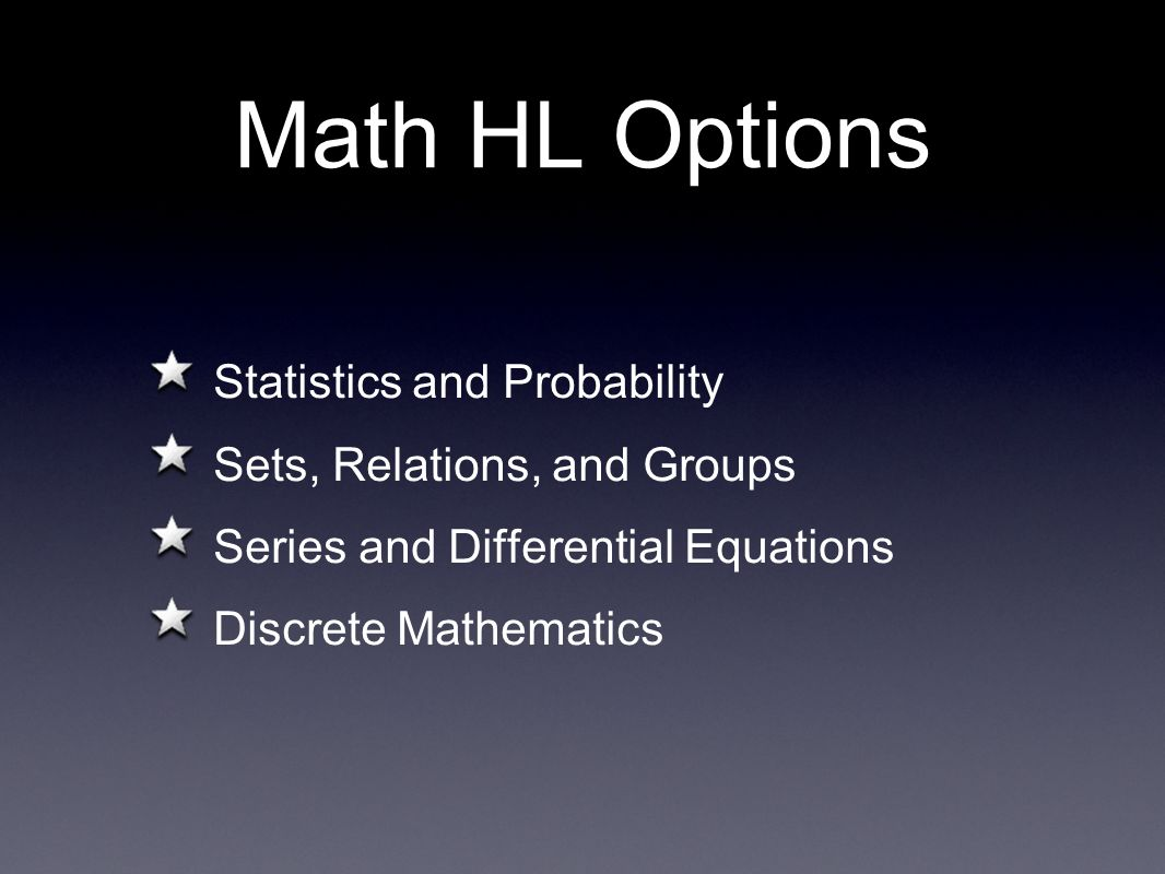 Math HL Options Statistics and Probability Sets, Relations, and Groups Series and Differential Equations Discrete Mathematics