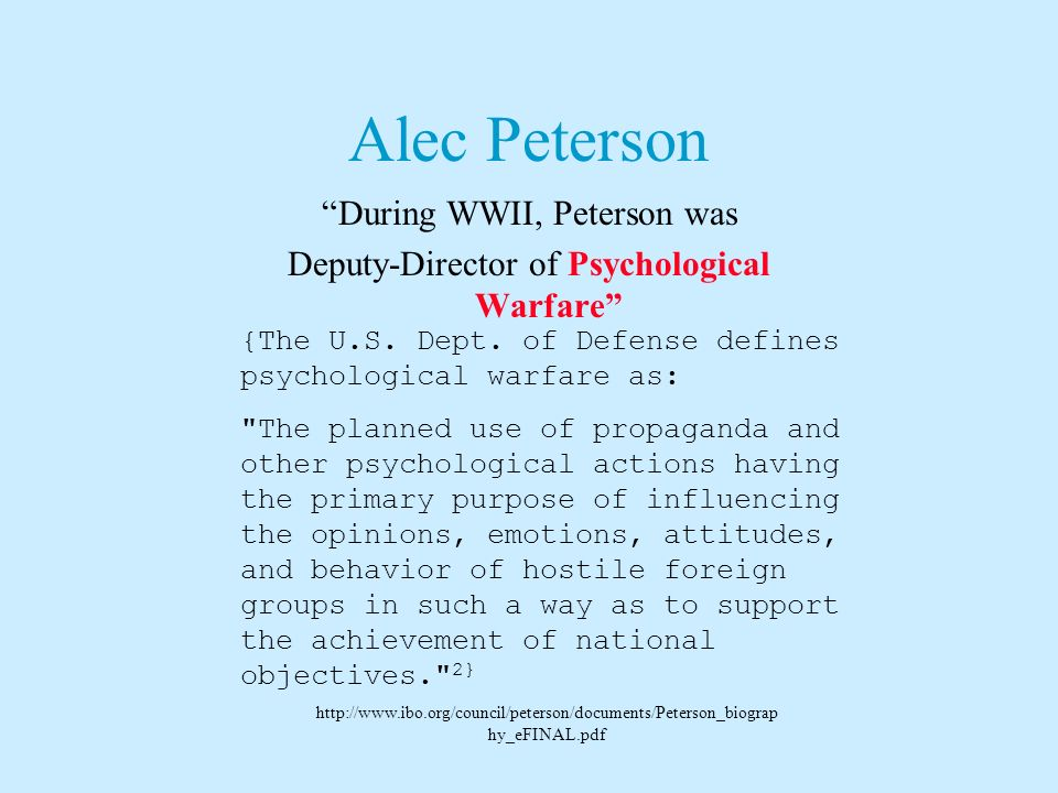 Alec Peterson, Founder & First Director He {Peterson} played a particular role in shaping the theory of knowledge course, then at the core of the IB D