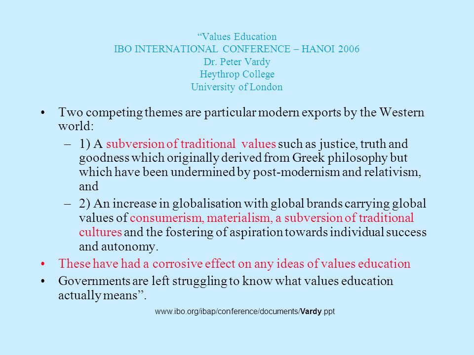 Values Education IBO INTERNATIONAL CONFERENCE – HANOI 2006 Dr. Peter Vardy Heythrop College University of London Some sections of United States societ