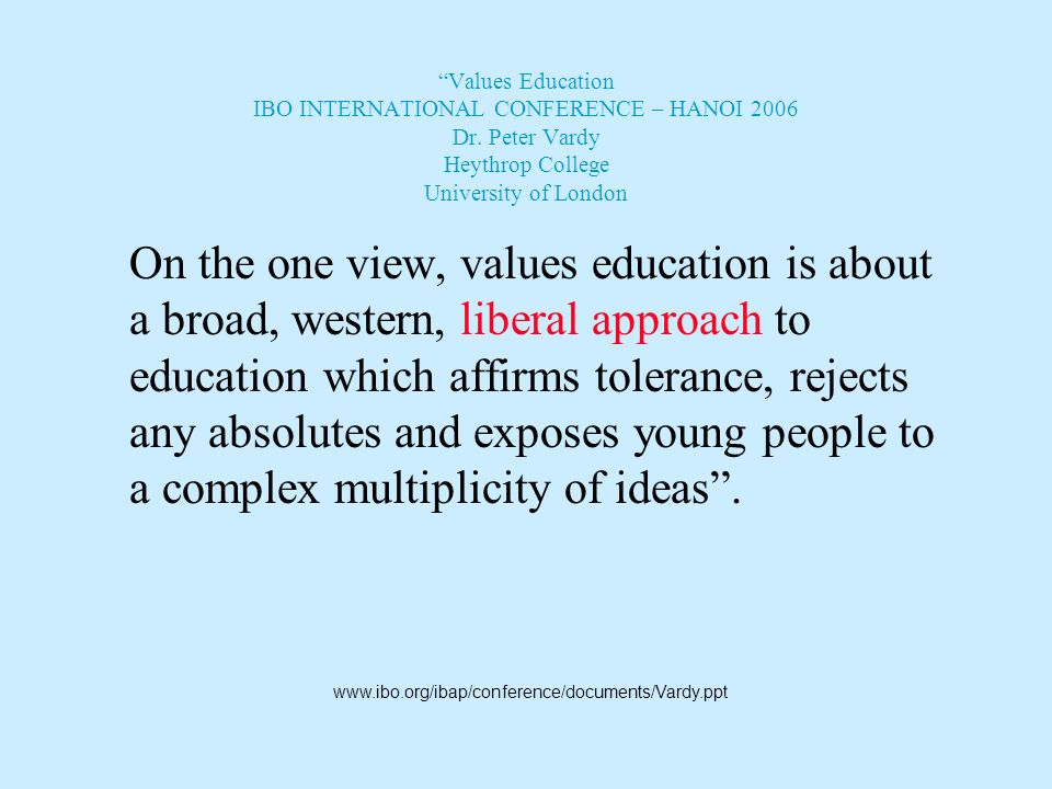 Again… The IBO is at its core motivated by aims that are universal in nature: most notable is its belief in the efficacy of education to create a bett