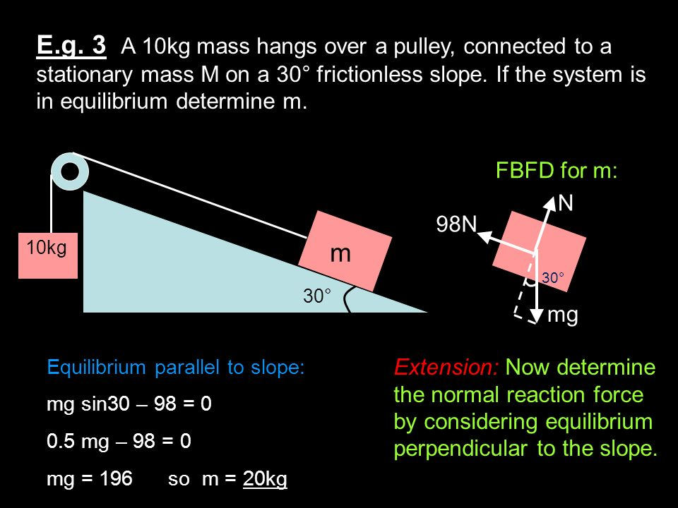 E.g. 3 A 10kg mass hangs over a pulley, connected to a stationary mass M on a 30° frictionless slope. If the system is in equilibrium determine m. 10k