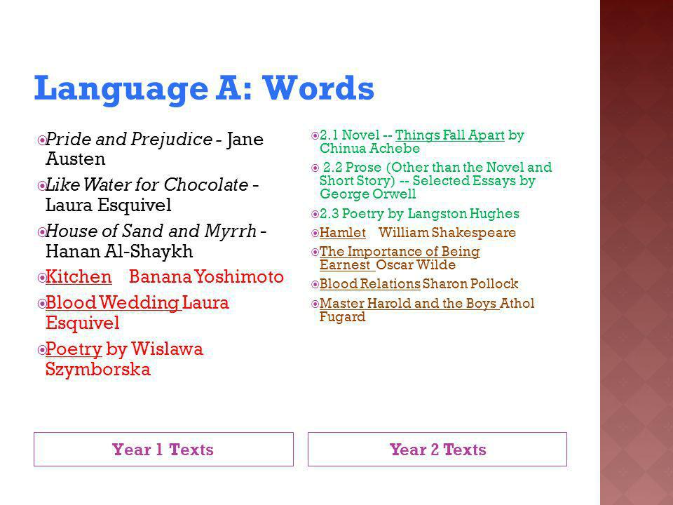 Language A: Words Year 1 Texts Year 2 Texts Pride and Prejudice - Jane Austen Like Water for Chocolate - Laura Esquivel House of Sand and Myrrh - Hana