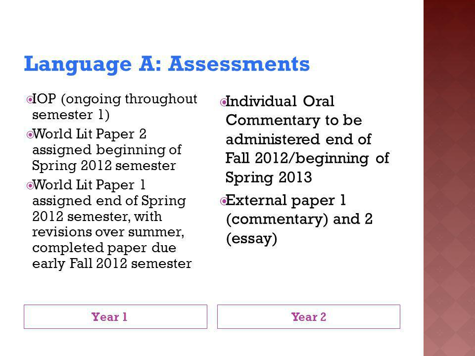 Language A: Assessments Year 1 Year 2 IOP (ongoing throughout semester 1) World Lit Paper 2 assigned beginning of Spring 2012 semester World Lit Paper