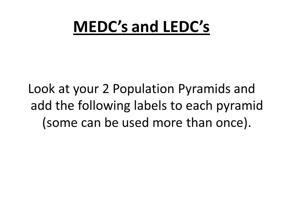MEDCs and LEDCs Look at your 2 Population Pyramids and add the following labels to each pyramid (some can be used more than once).