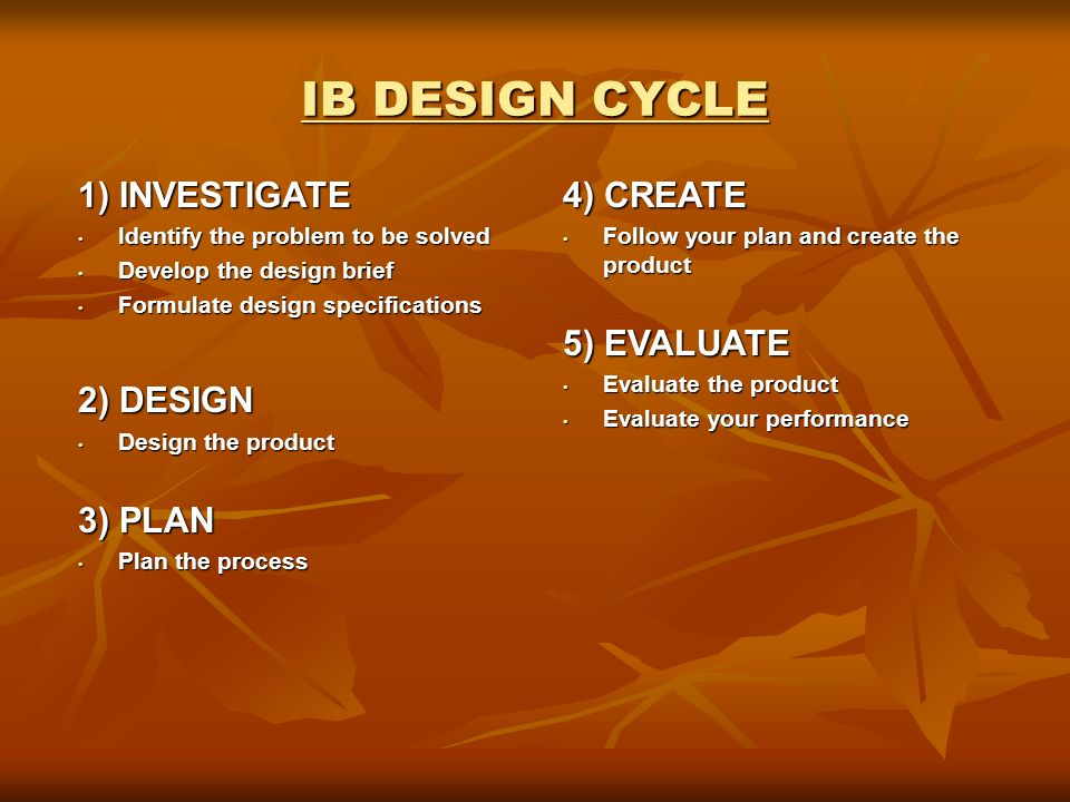 IB DESIGN CYCLE 1) INVESTIGATE Identify the problem to be solved Identify the problem to be solved Develop the design brief Develop the design brief Formulate design specifications Formulate design specifications 2) DESIGN Design the product Design the product 3) PLAN Plan the process Plan the process 4) CREATE Follow your plan and create the product Follow your plan and create the product 5) EVALUATE Evaluate the product Evaluate the product Evaluate your performance Evaluate your performance