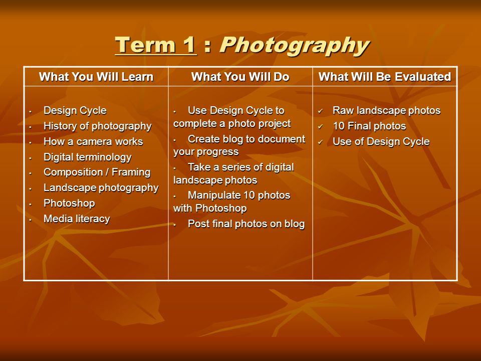 Term 1 : Photography What You Will Learn What You Will Do What Will Be Evaluated Design Cycle Design Cycle History of photography History of photography How a camera works How a camera works Digital terminology Digital terminology Composition / Framing Composition / Framing Landscape photography Landscape photography Photoshop Photoshop Media literacy Media literacy Use Design Cycle to complete a photo project Use Design Cycle to complete a photo project Create blog to document your progress Create blog to document your progress Take a series of digital landscape photos Take a series of digital landscape photos Manipulate 10 photos with Photoshop Manipulate 10 photos with Photoshop Post final photos on blog Post final photos on blog Raw landscape photos Raw landscape photos 10 Final photos 10 Final photos Use of Design Cycle Use of Design Cycle