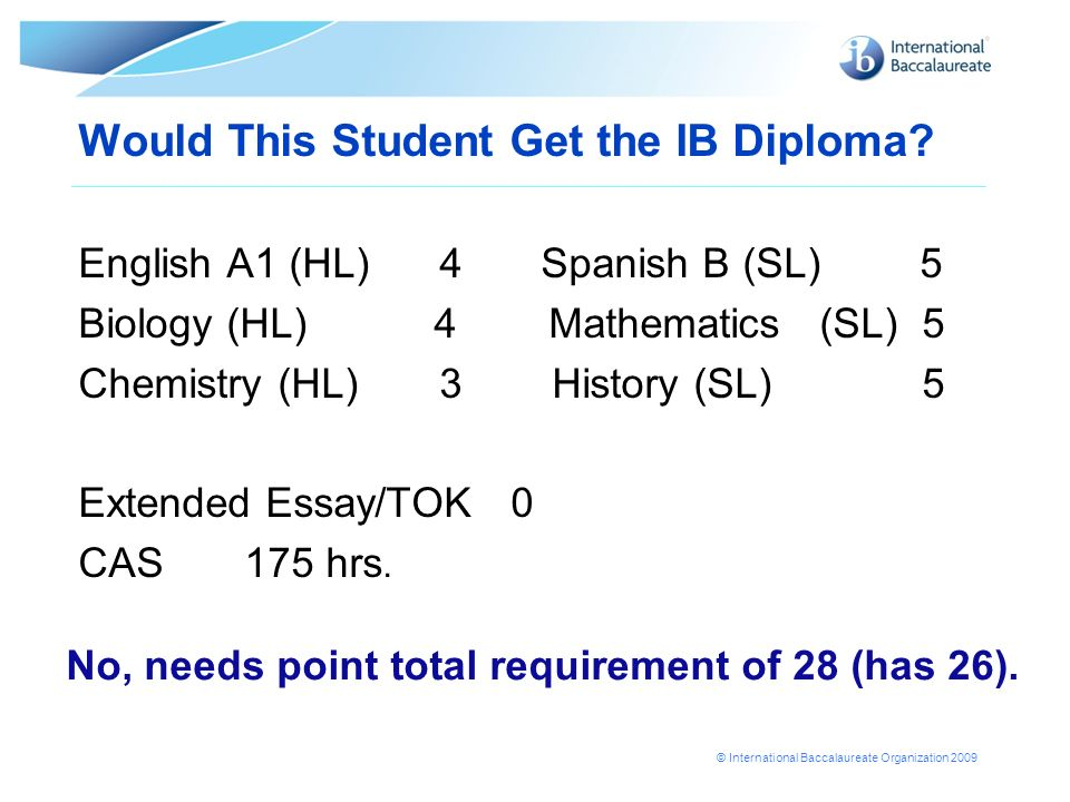 © International Baccalaureate Organization 2009 Would This Student Get the IB Diploma? English A1 (HL) 4 Spanish B (SL) 5 Biology (HL) 4 Mathematics (