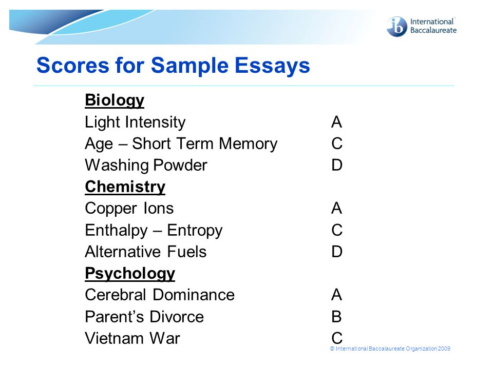 ib extended essays on biology Biology extended essay this research paper biology extended essay and other 63,000+ term papers, college essay examples and free essays are available now on reviewessayscom autor: reviewessays • february 23, 2011 • research paper • 3,192 words (13 pages) • 1,029 views.