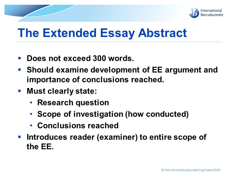 extended essay format 2013 Formatting your ib extended essay the final draft order of items • title page (main focus of the essay and not necessarily the research question.