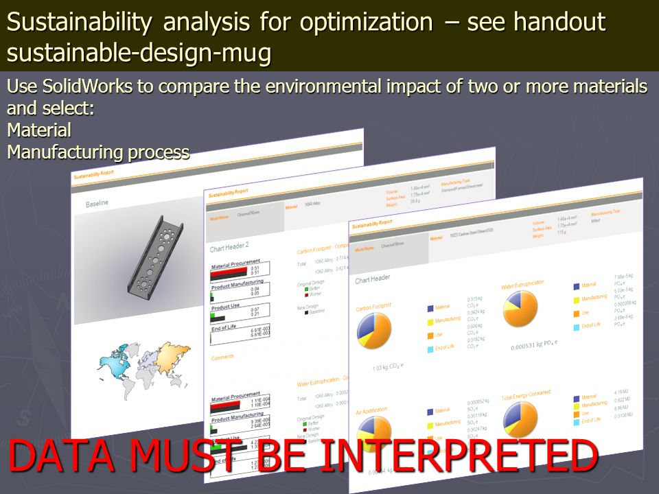 Sustainability analysis for optimization – see handout sustainable-design-mug Use SolidWorks to compare the environmental impact of two or more materi