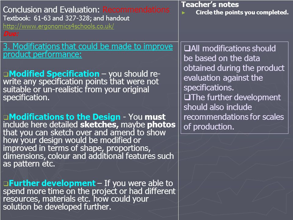 Conclusion and Evaluation: Recommendations Textbook: 61-63 and 327-328; and handout http://www.ergonomics4schools.co.uk/ Due: http://www.ergonomics4sc
