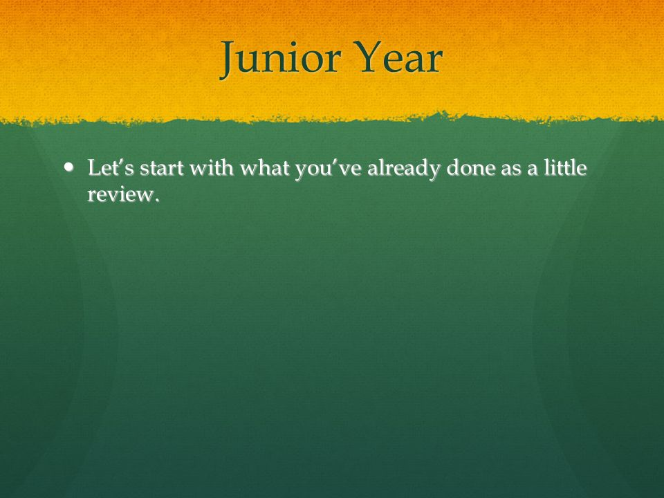 Junior Year Lets start with what youve already done as a little review. Lets start with what youve already done as a little review.