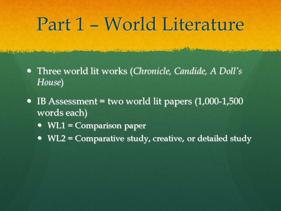 Part 1 – World Literature Three world lit works ( Chronicle, Candide, A Dolls House ) Three world lit works ( Chronicle, Candide, A Dolls House ) IB A