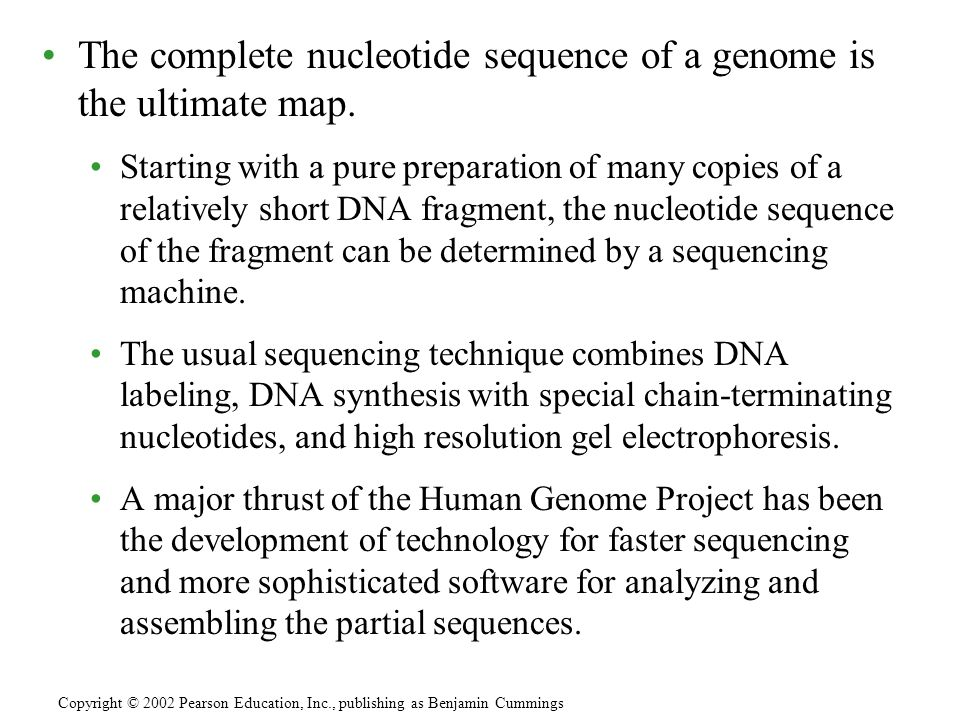 The complete nucleotide sequence of a genome is the ultimate map. Starting with a pure preparation of many copies of a relatively short DNA fragment,