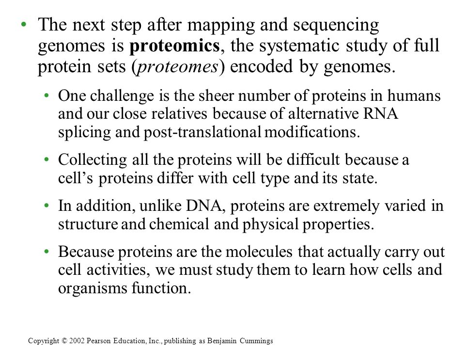The next step after mapping and sequencing genomes is proteomics, the systematic study of full protein sets (proteomes) encoded by genomes. One challe