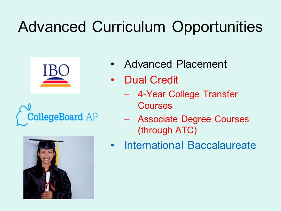 Advanced Curriculum Opportunities Advanced Placement Dual Credit –4-Year College Transfer Courses –Associate Degree Courses (through ATC) International Baccalaureate