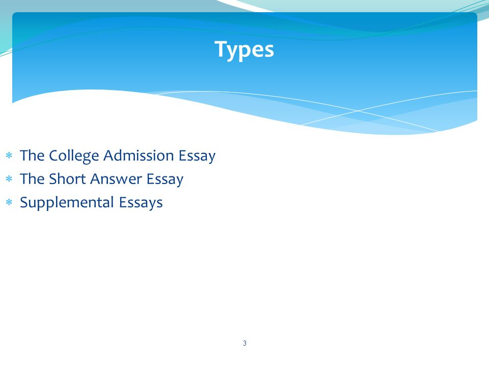 The College Admission Essay The Short Answer Essay Supplemental Essays 3 Types