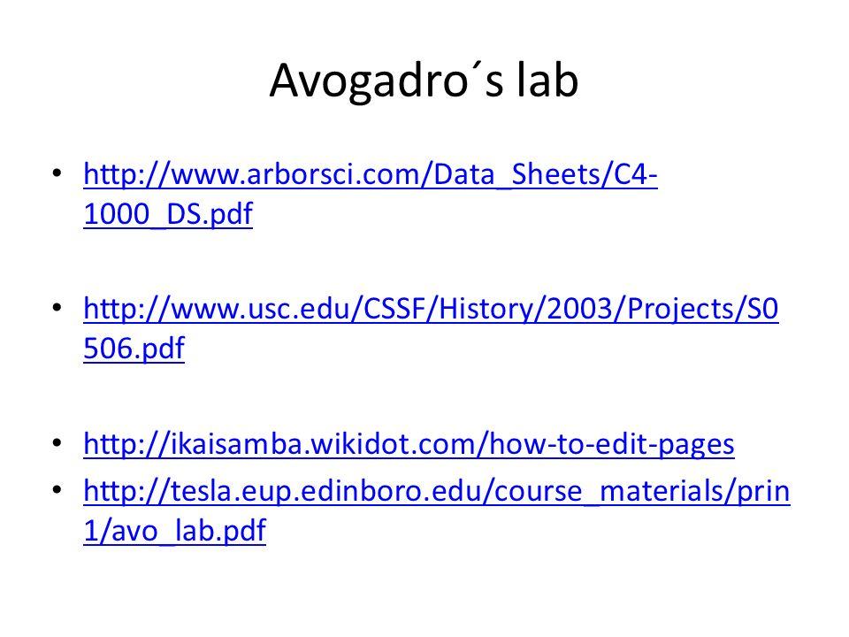 Avogadro´s lab http://www.arborsci.com/Data_Sheets/C4- 1000_DS.pdf http://www.arborsci.com/Data_Sheets/C4- 1000_DS.pdf http://www.usc.edu/CSSF/History