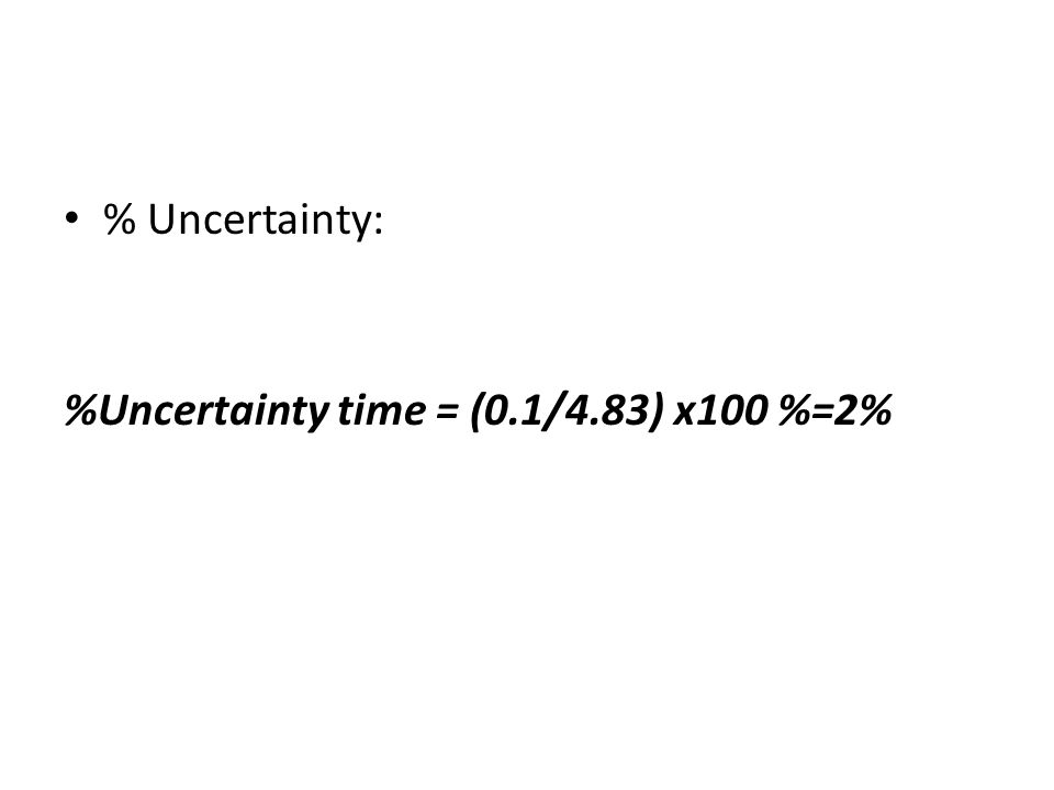 % Uncertainty: %Uncertainty time = (0.1/4.83) x100 %=2%