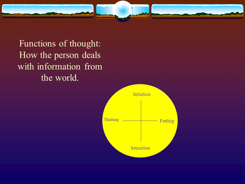 Functions of thought: How the person deals with information from the world. Intuition Sensation Thinking Feeling
