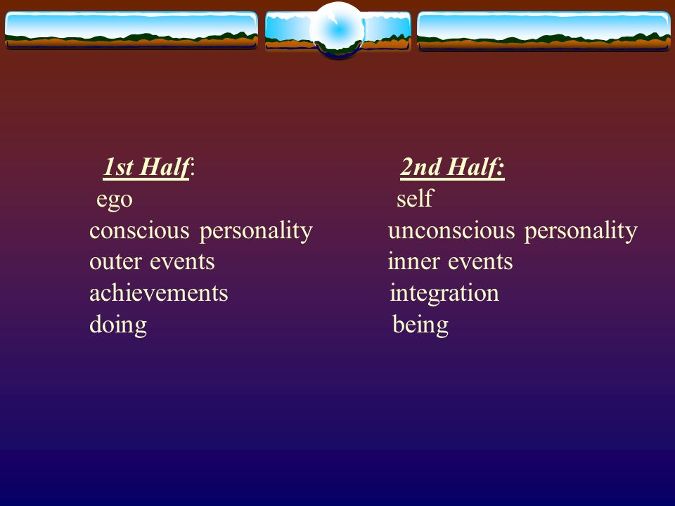 1st Half: 2nd Half: ego self conscious personality unconscious personality outer events inner events achievements integration doing being