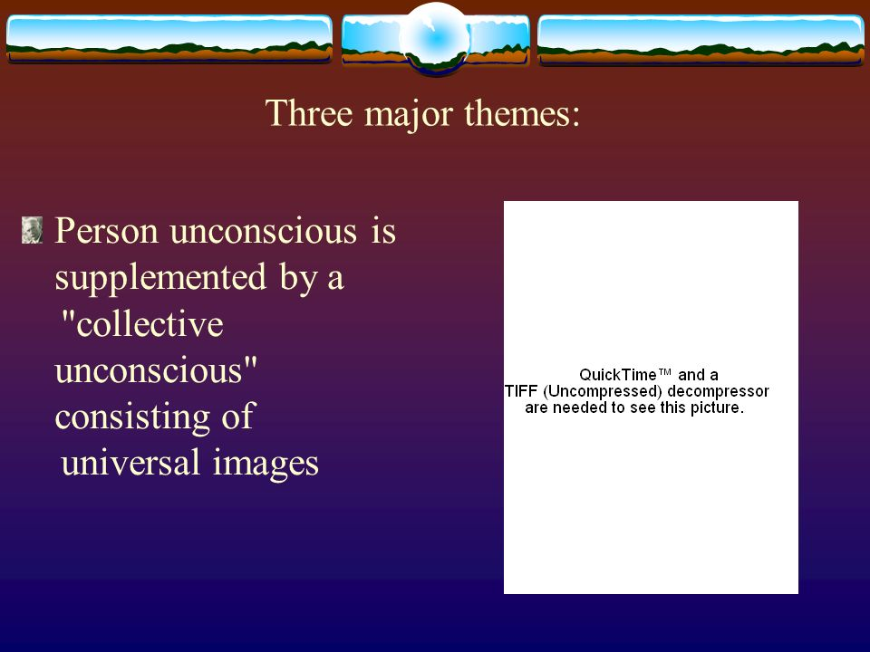 Three major themes: Person unconscious is supplemented by a