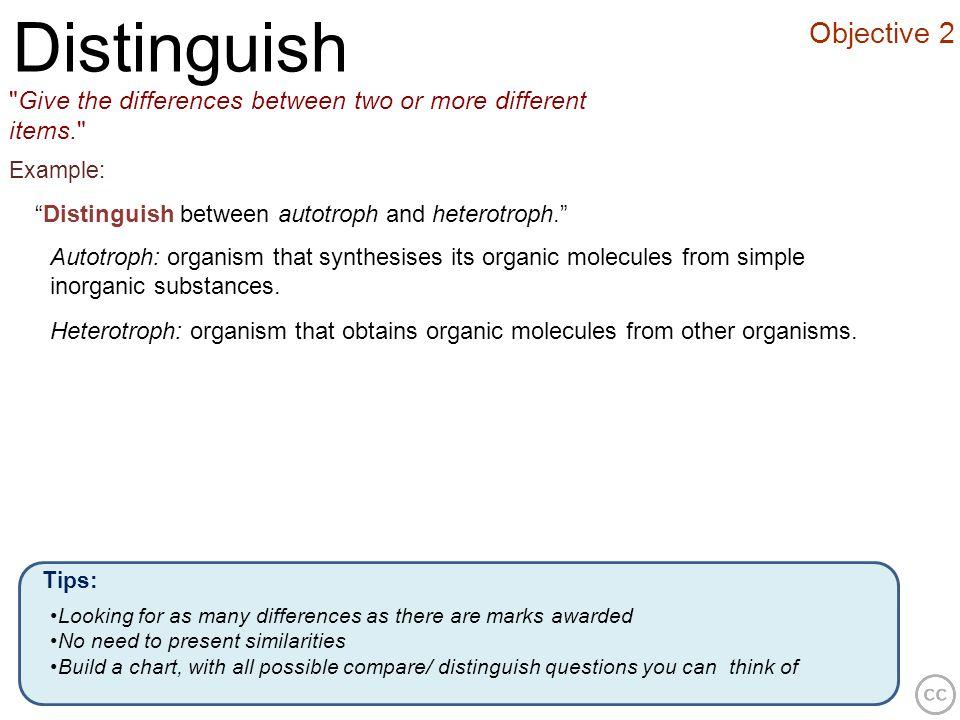 Objective 2 Distinguish
