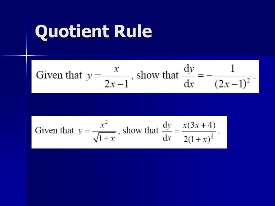 Quotient Rule
