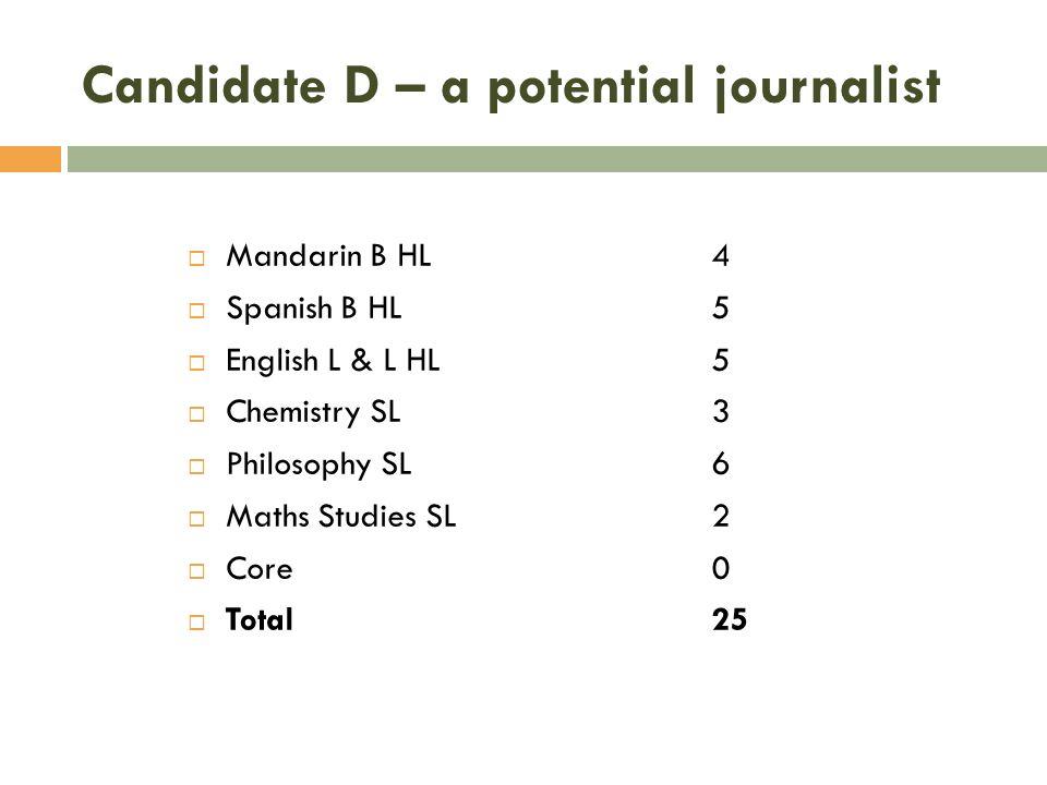 Candidate D – a potential journalist Mandarin B HL 4 Spanish B HL5 English L & L HL5 Chemistry SL3 Philosophy SL6 Maths Studies SL2 Core0 Total25