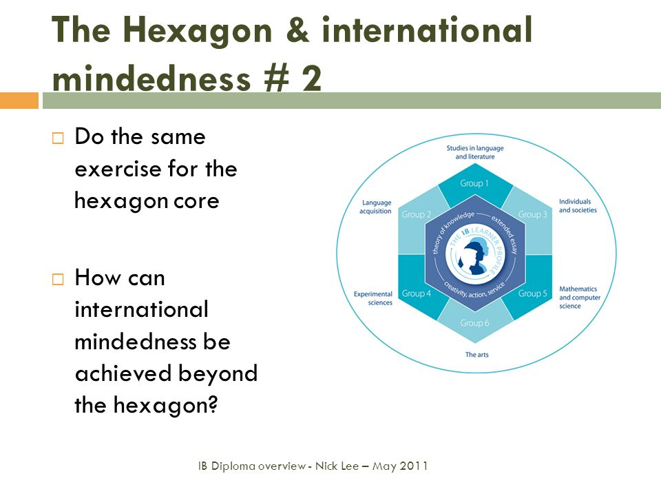 The Hexagon & international mindedness # 2 Do the same exercise for the hexagon core How can international mindedness be achieved beyond the hexagon?