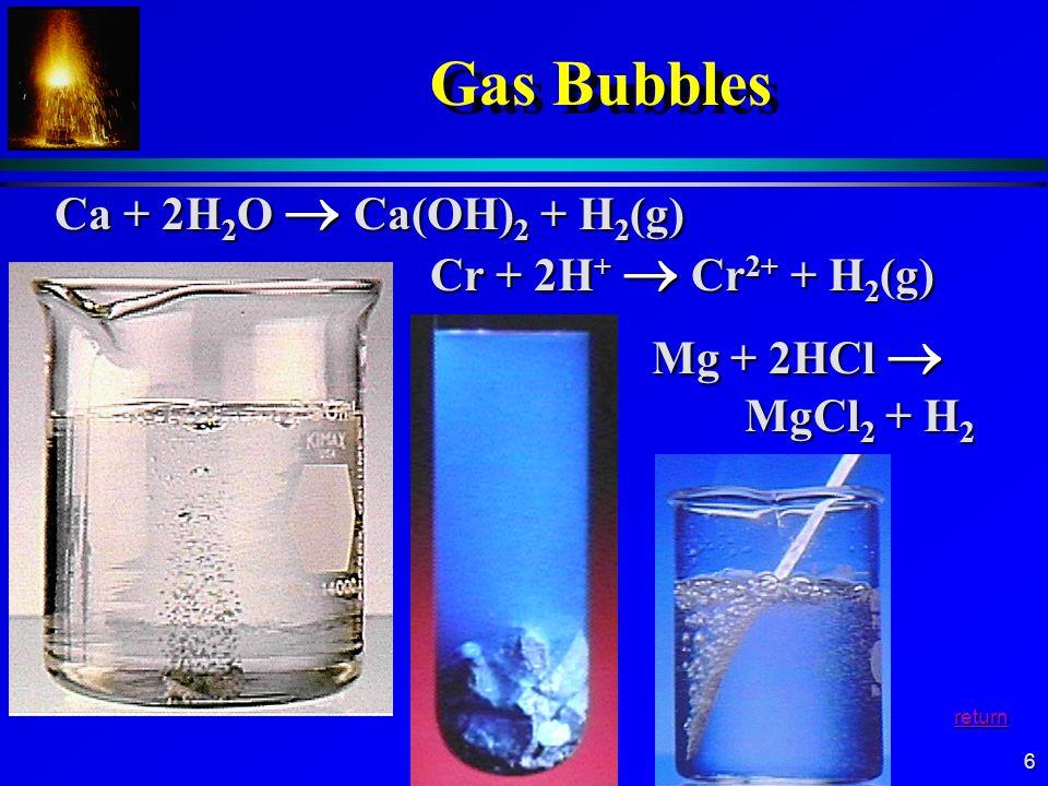 6 Gas Bubbles Ca + 2H 2 O Ca(OH) 2 + H 2 (g) Cr + 2H + Cr 2+ + H 2 (g) Mg + 2HCl MgCl 2 + H 2 Mg + 2HCl MgCl 2 + H 2 return