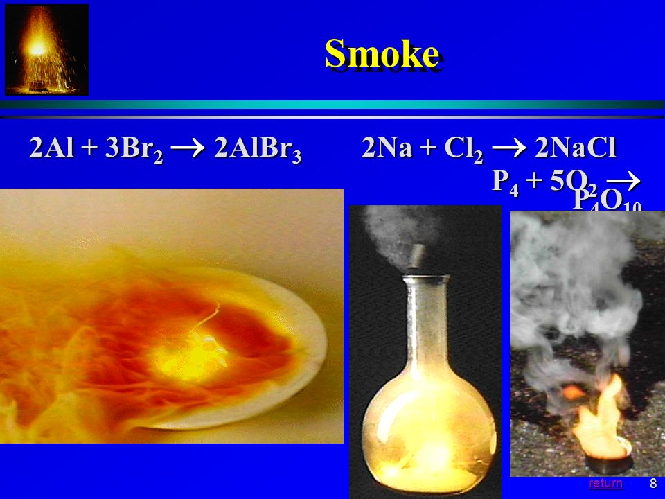 8 Smoke 2Al + 3Br 2 2AlBr 3 2Na + Cl 2 2NaCl P 4 + 5O 2 P 4 O 10 P 4 + 5O 2 P 4 O 10 return
