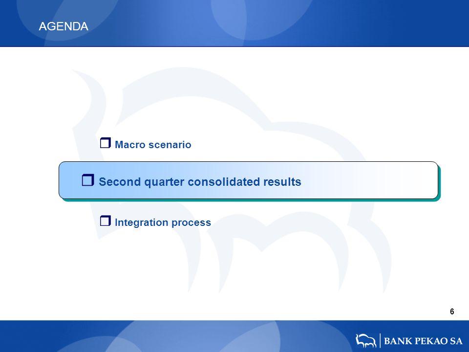 AGENDA r Macro scenario 6 r Second quarter consolidated results r Integration process