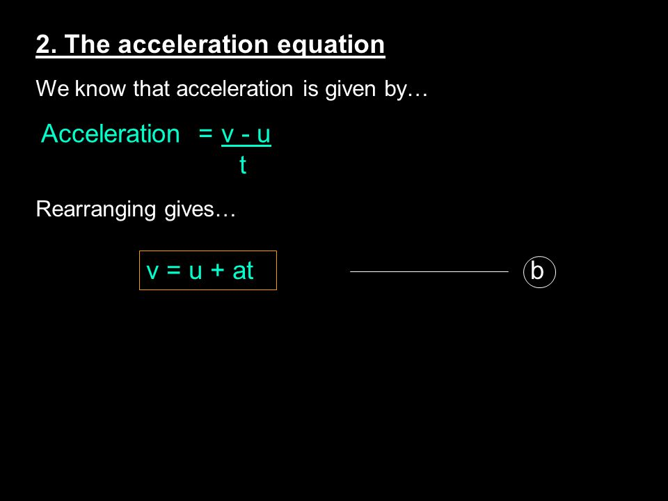 2. The acceleration equation We know that acceleration is given by… Rearranging gives… Acceleration = v - u t v = u + at b