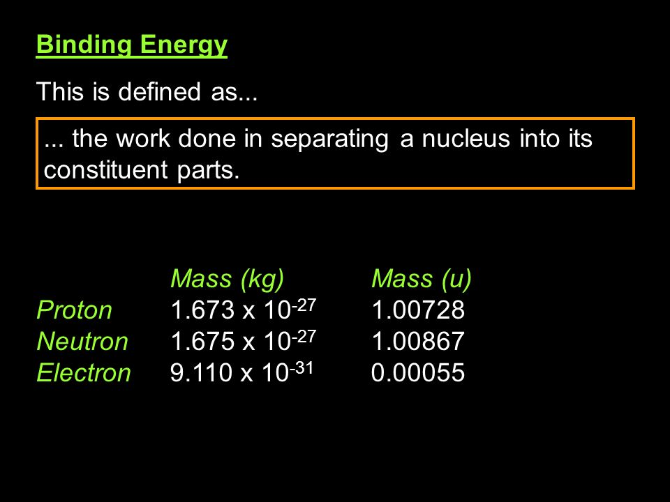 Binding Energy This is defined as...
