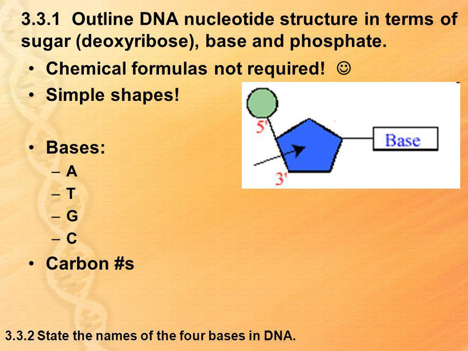 3.3.1 Outline DNA nucleotide structure in terms of sugar (deoxyribose), base and phosphate. Chemical formulas not required! Simple shapes! Bases: –A –