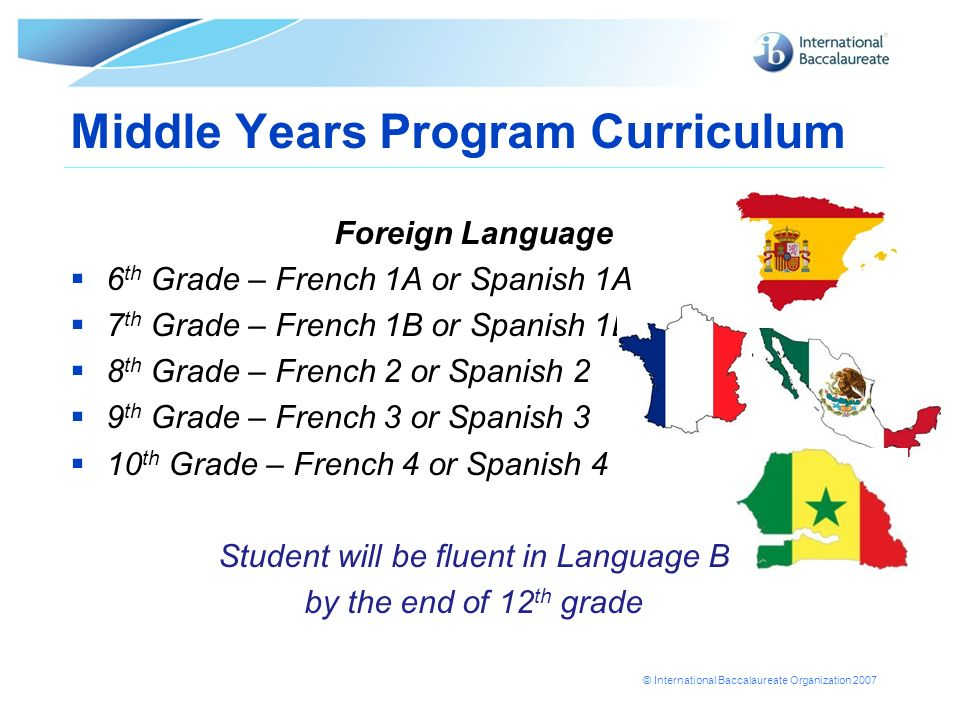 © International Baccalaureate Organization 2007 Middle Years Program Curriculum Foreign Language 6 th Grade – French 1A or Spanish 1A 7 th Grade – French 1B or Spanish 1B 8 th Grade – French 2 or Spanish 2 9 th Grade – French 3 or Spanish 3 10 th Grade – French 4 or Spanish 4 Student will be fluent in Language B by the end of 12 th grade